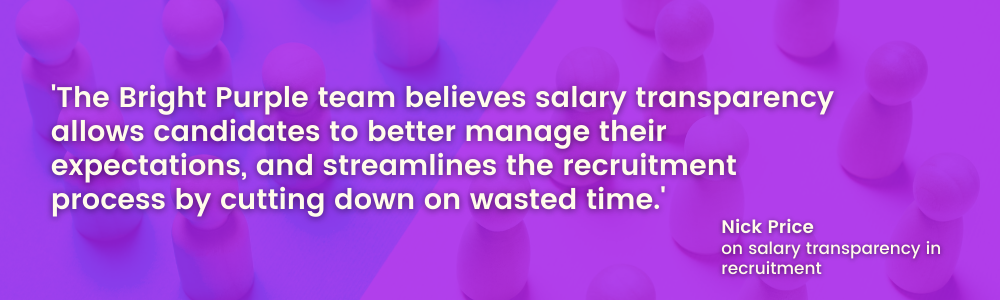 Gender pay gap Bright PUrple quote