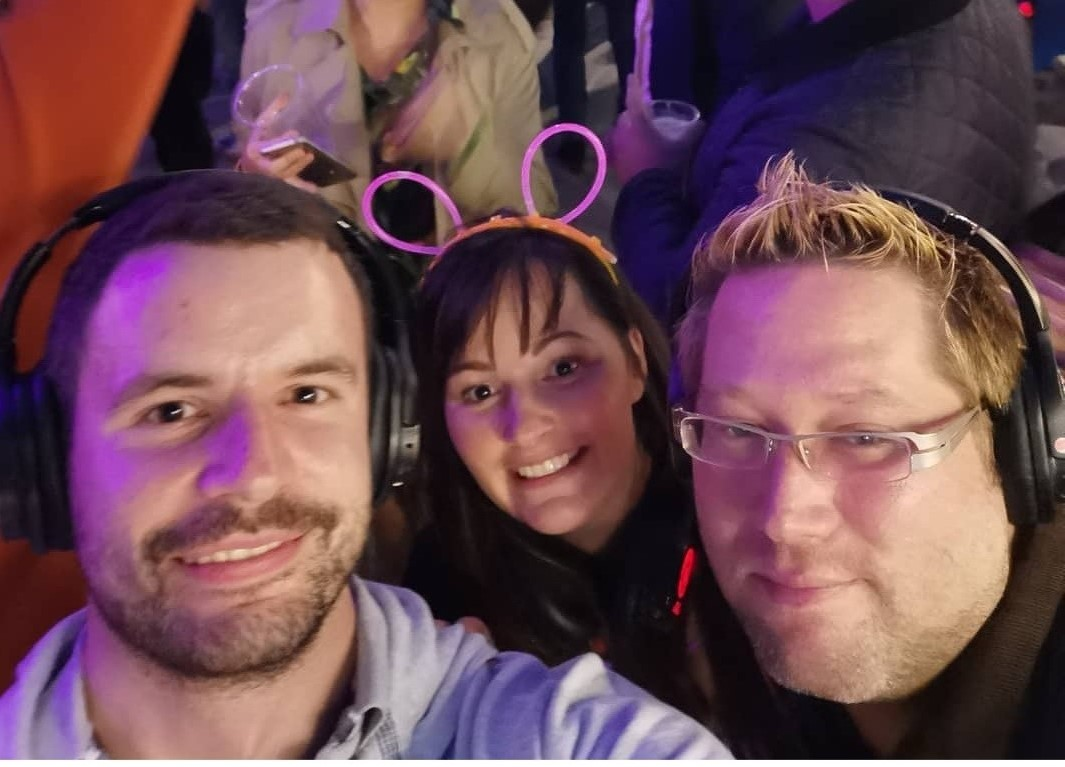 Jamie Jemma and Magnus at a silent disco