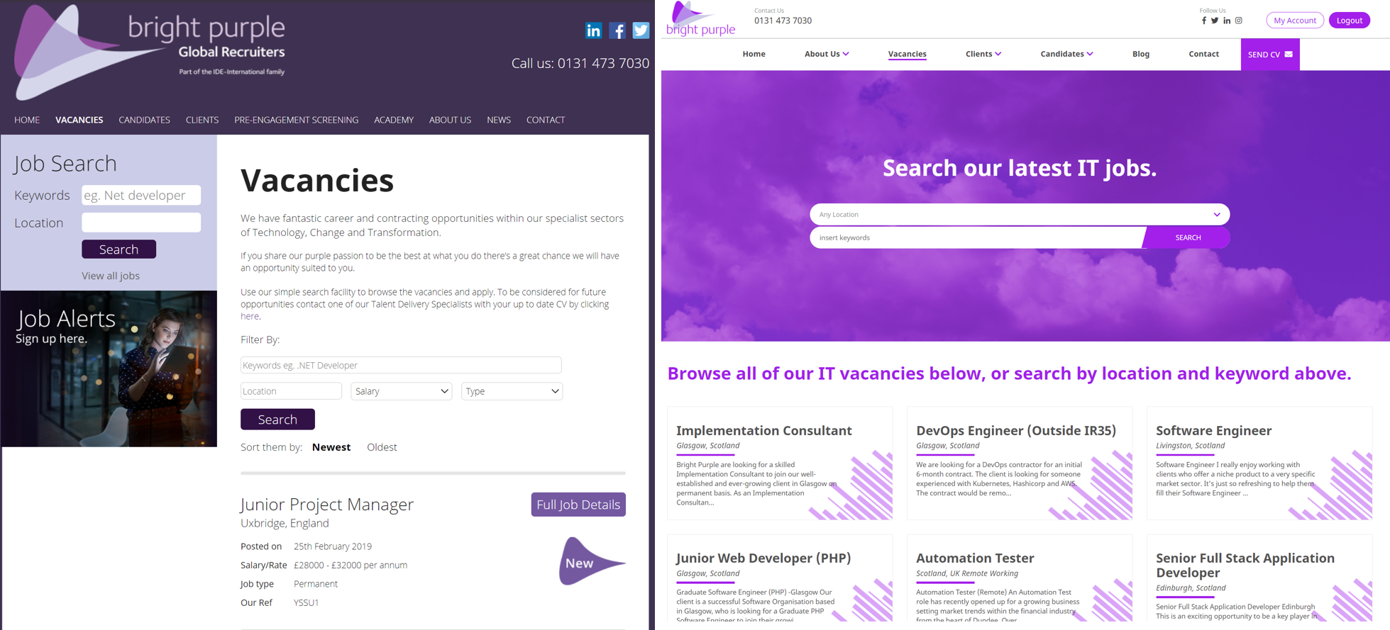 Old website vs new website