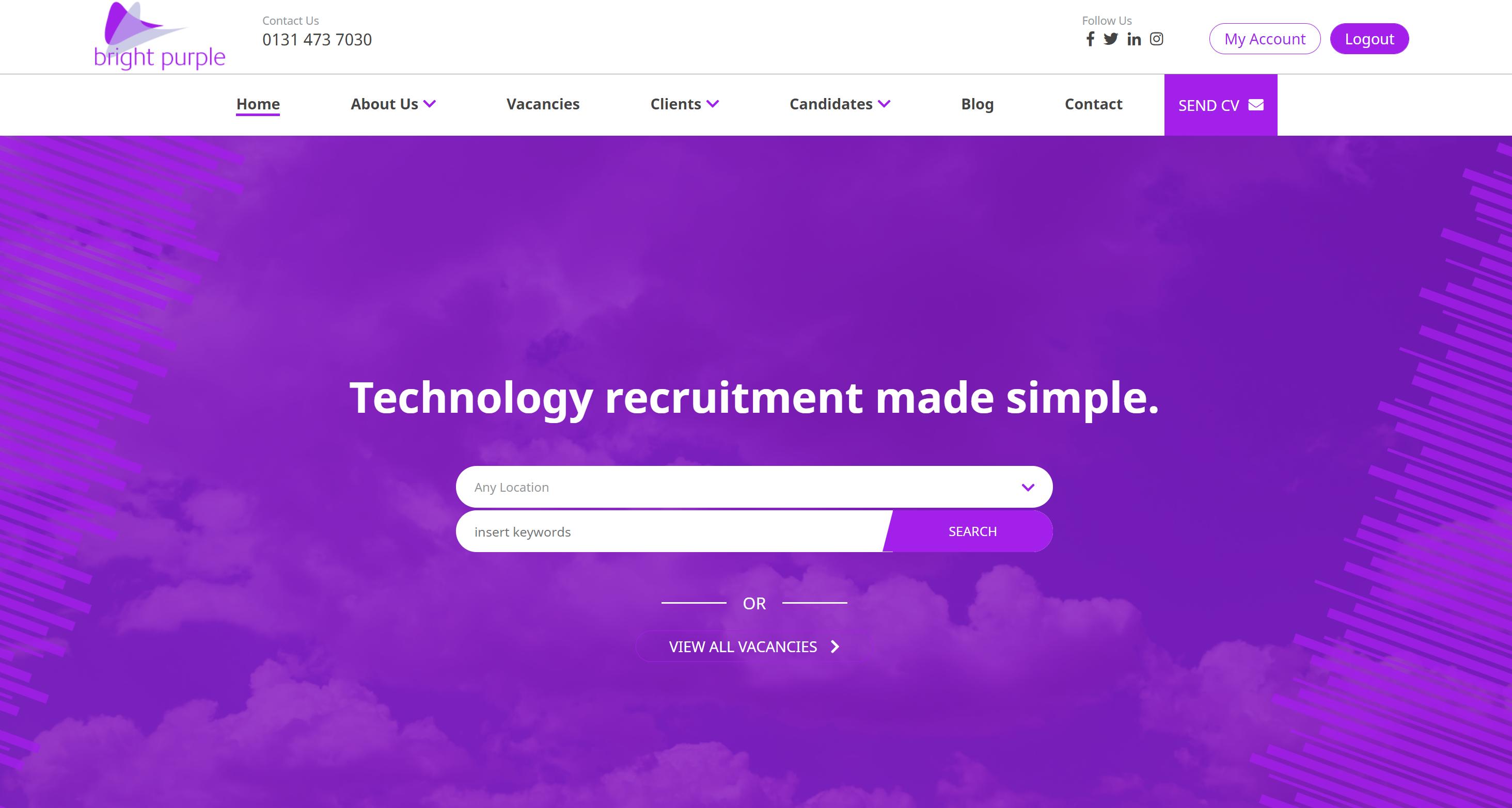 The Bright Purple website homepage