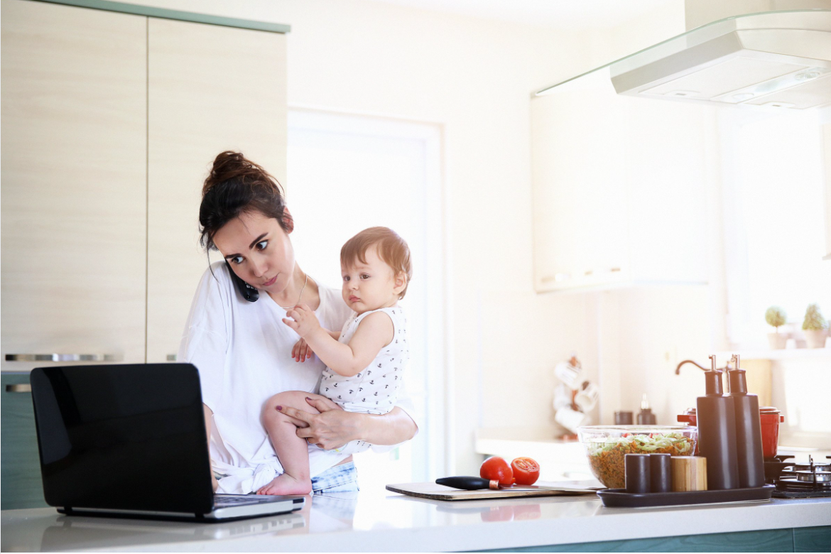 Women working from home with baby, Bright PUrple